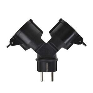 Schuko-Stecker-2-fach-230V-Gummi-IP44-16A-Kabel-schwarz-Mehrfachsteckdose
