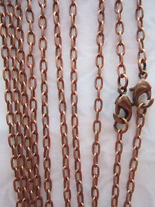 5x-21-034-Antique-Copper-Chain-Necklaces-with-lobster-clasp-jewellery-making