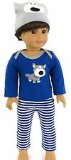 "Cute Doggy 3 pc Pajamas Boy fits 18"" American Girl Doll Clothes"