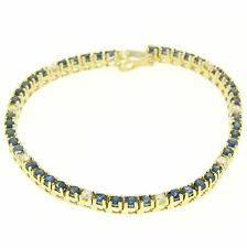 14k Solid Yellow Gold 5.13ctw Round Sapphire & Diamond Line Tennis Bracelet