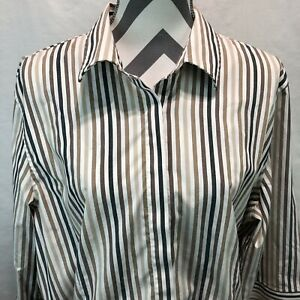 Orvis Brown White Striped Blouse Button Front 3/4 Sleeve Carefree Size 20 UU14