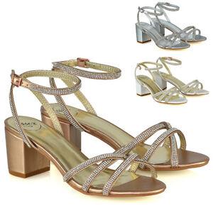 Para-mujeres-Zapatos-Tacon-Bajo-Brillante-Diamante-Sandalias-De-Tiras-Fiesta-Damas-Nupcial-Tamano