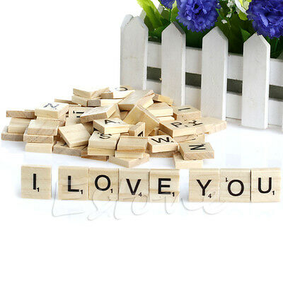 New 100 Wooden Alphabet Scrabble Tiles Black Letters & Numbers For Crafts Wood