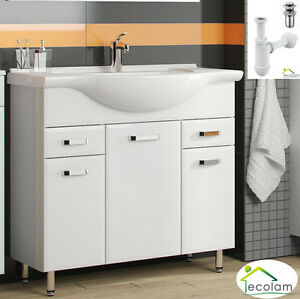 badm bel waschbecken waschtisch unterschrank 85 cm t r siphon click clack ebay. Black Bedroom Furniture Sets. Home Design Ideas