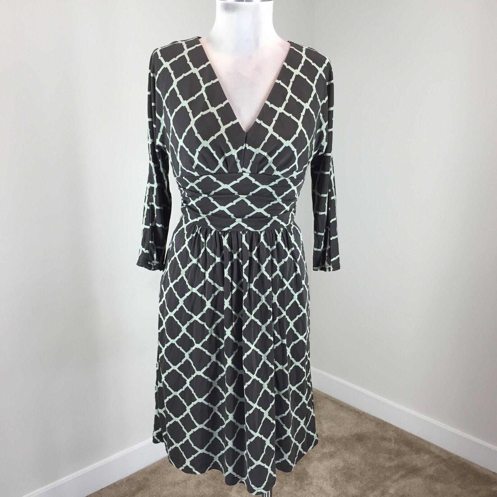 3 Sleeeve Dress 2 Kay Knit Jersey Flare Brown 4 Silk Unger Medallion YfvIb6ym7g