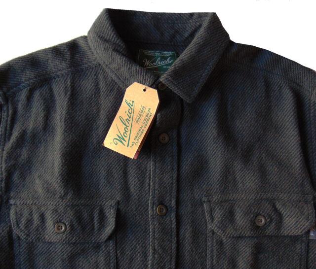 Men's WOOLRICH Gray Black Twill Flannel Cotton Shirt Jacket L Large NWoT NEW