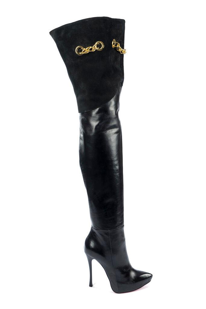 MORI ITALY OVERKNEE PLATFORM HEELS botas botas botas LEATHER negro negro 41