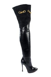 Overknee Italy Stiefel Boots Nero Stivali Leather Heels 37 Black Platform Mori FgxwBF