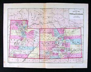 1881 Antique Bradley Map - Utah & Colorado - Denver Salt Lake City ...