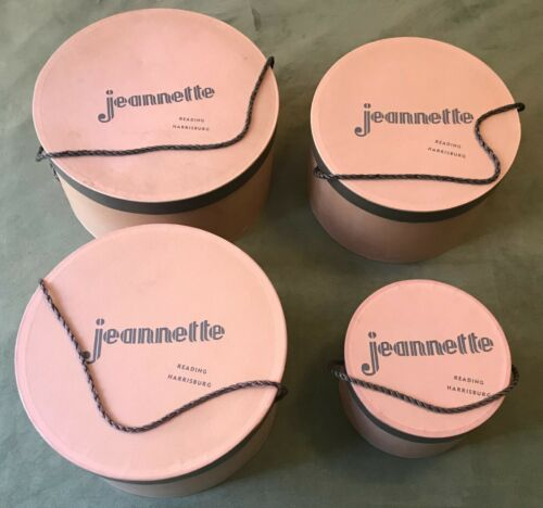 Vintage Set 4 Nesting Stacking Hat Storage Boxes J