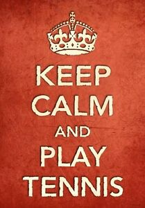 CR6 Vintage Style Red Keep Calm Play Tennis Sport Funny Poster Print A2//A3//A4