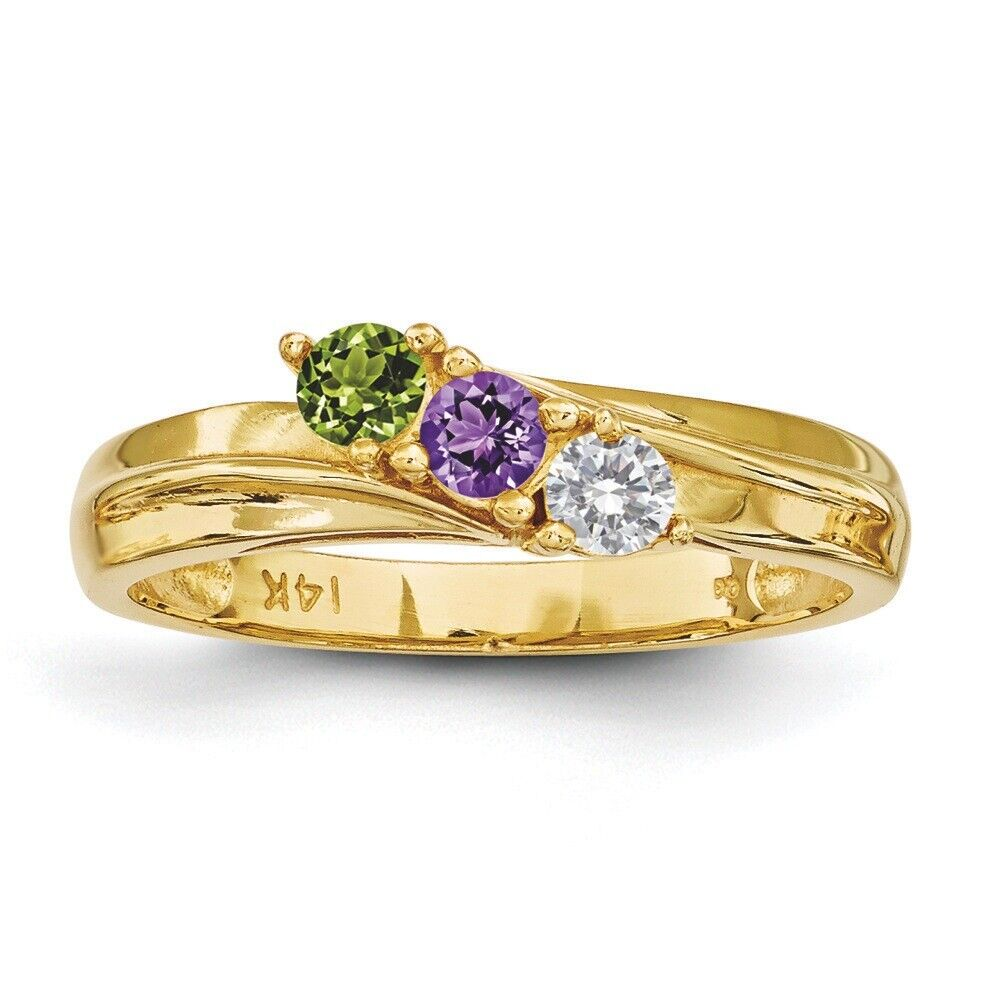 14K Solid gold Mother's Ring 1 to 4 Birthstones, Moms family Jewelry Ring