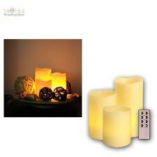 3er Set LED-Kerzen dimmbar mit Fernbedienung, Timer, Wachs-Kerze, LEDs flackernd