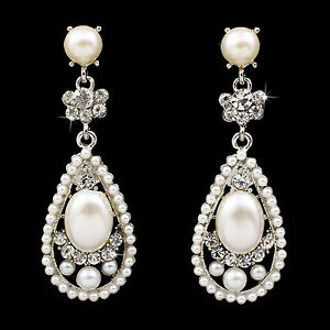 Bridal-Wedding-Crystal-Rhinestone-Pearl-Teardrop-Dangle-Earrings-Silver-Ivory