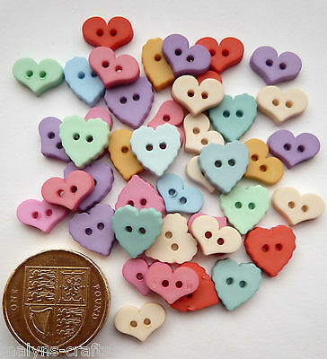 ICE CREAM Valentine Wedding Craft Buttons Love Sewing Mixed Baby Pastel HEARTS