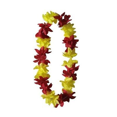 SIX Hawaiian Silk Flower Lei Party Hula Wedding Red w/ Yellow QTY 6 LEIS
