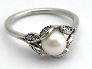 Authentic-Pandora-Luminous-Leaves-Ring-Pearl-CZ-190967P-52-Size-6-New