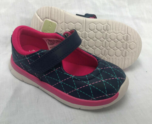 BNIB Clarks Girls Ath Megan Blue Leather First Shoes F//G Fitting