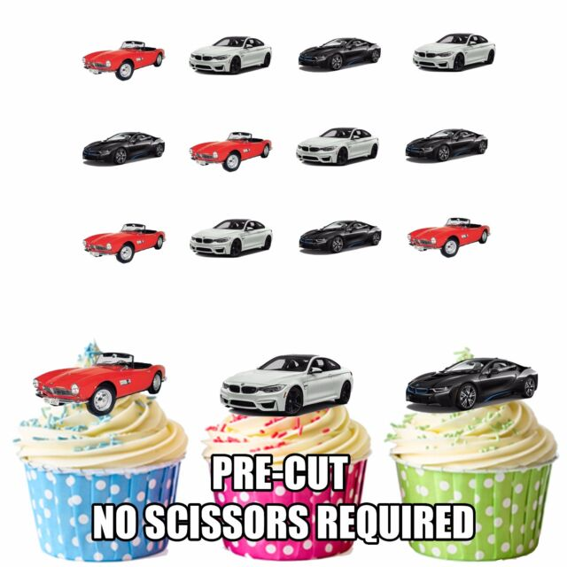 PRECUT Cars BMW 12 Edible Cupcake Toppers Party Decorations Boys Mens Birthday