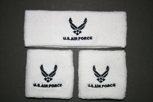 UNITED STATES AIR FORCE HEADBAND WRISTBAND COMBO WING MILITARY NAVY BLUE 1 NEW