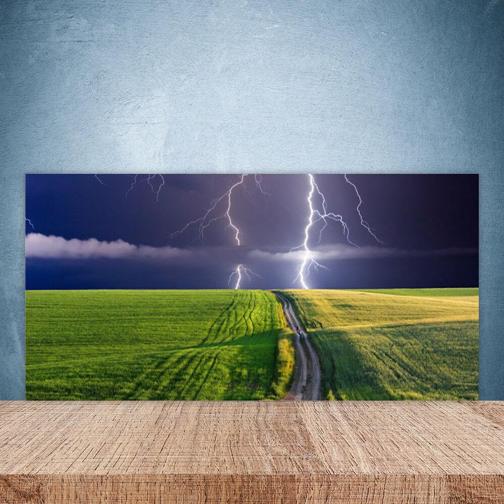 Küchenrückwand aus Glas 100x50cm ESG Spritzschutz Feld Pfad Blitz Landschaft