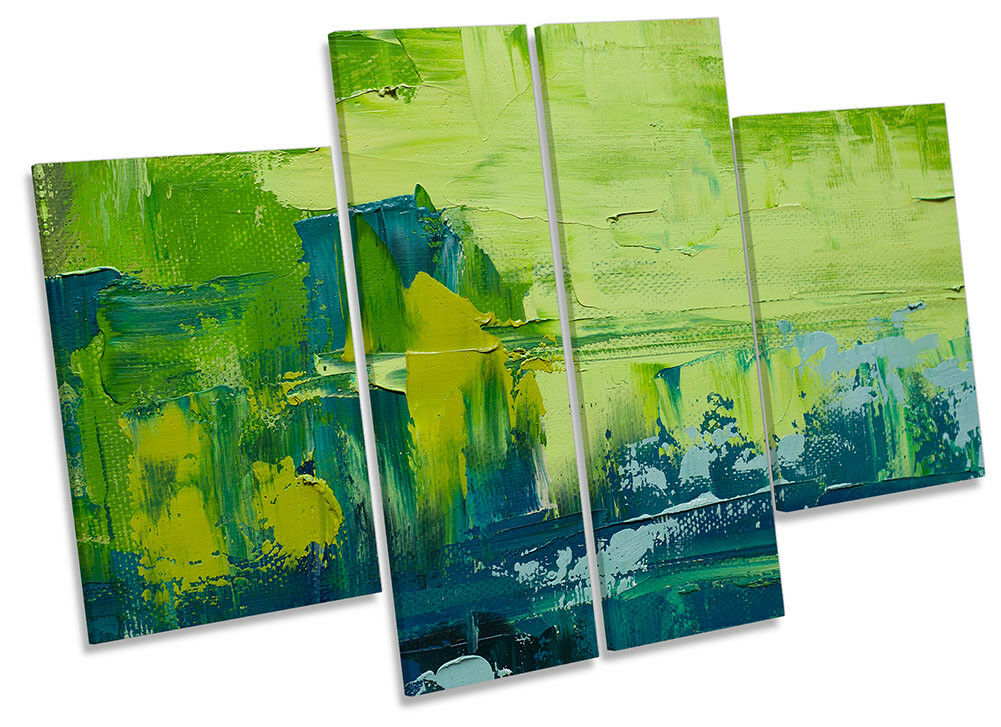 Grün Abstract Grunge Framed CANVAS PRINT Four Panel Wall Art