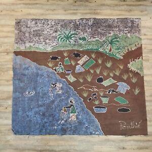 Vintage-Batik-African-Cloth-Painting-Textile-Wall-Hanging-Village-Scene-55-034-x60-034