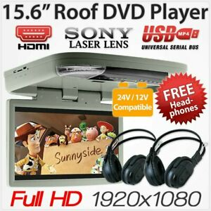 "Grey 15.6"" DVD Player HDMI Roof Mount In Car Flip Down Monitor 12V/24V Bus OZ"