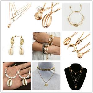 Fashion-Women-Gold-Shell-Cowrie-Pendant-Choker-Necklace-Bracelet-Beach-Jewelry