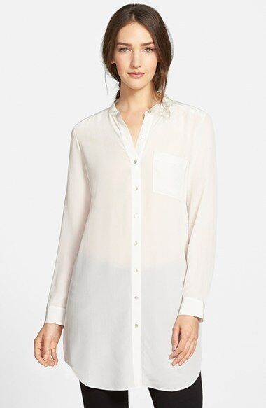 449dbb54bea Eileen Fisher Mandarin Collar Long Shirt Silk Crepe De Chine Bone M Medium