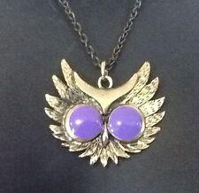 Owl Pendant Necklace Huge Enamel PURPLE EYES vintage style Bronze Metal Chain