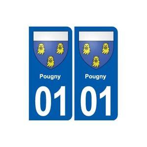 01 Pougny Blason Ville Autocollant Plaque Sticker - Angles : Arrondis ImperméAble à L'Eau, RéSistant Aux Chocs Et AntimagnéTique