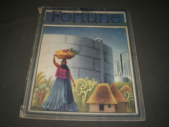 1938 OCTOBER FORTUNE MAGAZINE - BEAUTIFUL ILLUSTRATED FRONT COVER - O 11649
