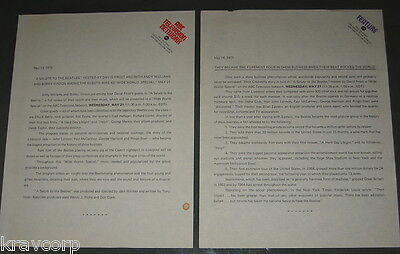 THE BEATLES 'A SALUTE TO THE BEATLES' TWO 1975 ABC TV PRESS RELEASES