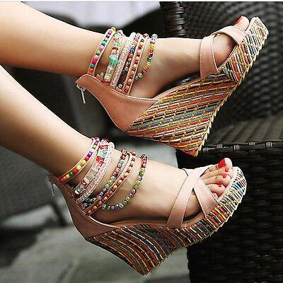 Ladies  Glitter Bead  Chunky  Platform Stripe Zipped Sandals  High Wedge Heel