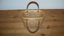 LONGABERGER Basket 2003 Tote Purse w/ Leather Handles Handmade USA