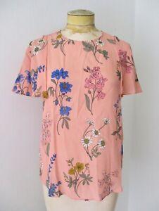 J Crew coral pink colorful botanical floral 100% silk blouse top flutter slvs XS