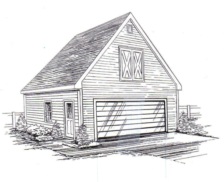 24 x 28 2 Car FG sd Garage Building Blauprint Plans with Interior Stair to Loft