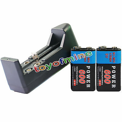 2x 9V 9 Volt 600mAh Power Ni-Mh Rechargeable Battery PPS block + AA 123A Charger