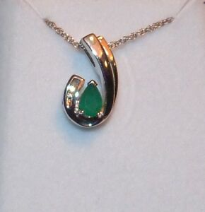 .50 CTW PEAR CUT EMERALD DESIGNER PENDANT SLIDE W CHAIN GOLD STERLING SILVER