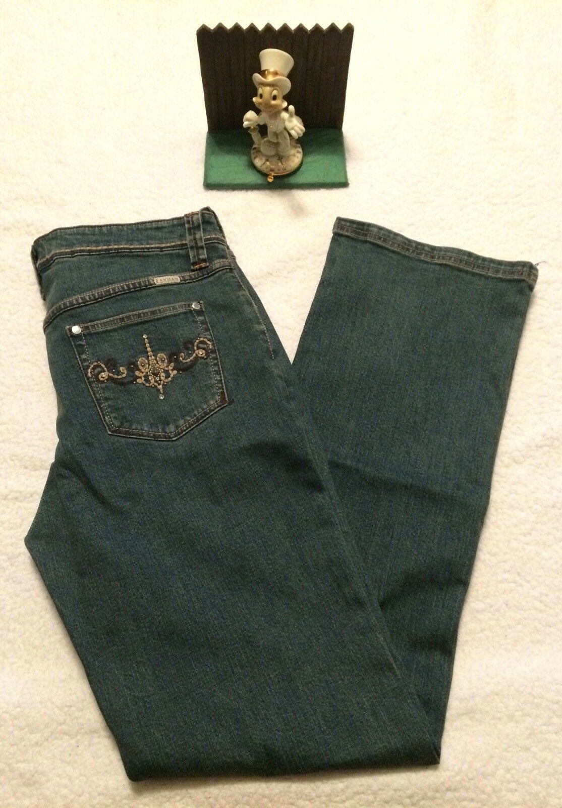 Lawman western style Embroidered women's denim jeans 13 14 straight leg New