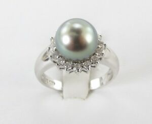 14k-White-Gold-Diamond-And-South-Sea-Pearl-Ring-Size-7
