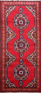Geometric-Ardebil-Traditional-Area-Rug-Hand-knotted-Oriental-Wool-RED-Carpet-4x7