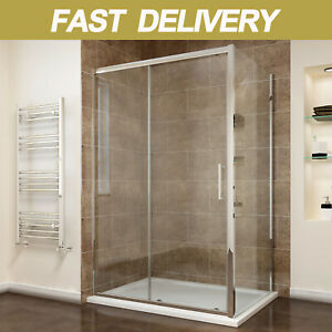 Sliding Shower Enclosure And Tray&Waste+Side Panel 8mm Easy Clean Cubicle Door