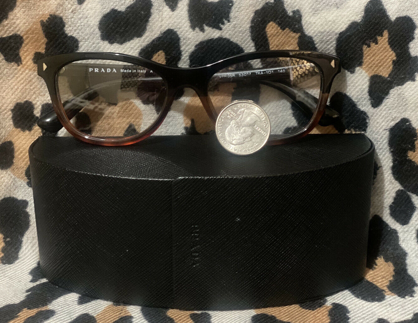 Authentic Prada Eye Glasses Small With Case