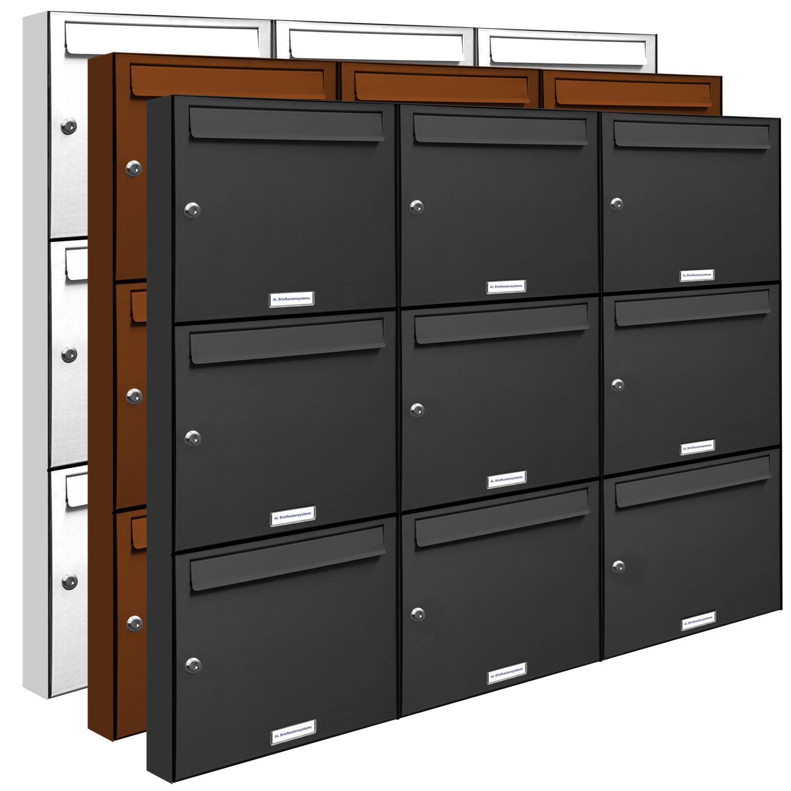 9 er 3x3 Briefkasten Anlage Aufputz - Wandmontage RAL Farbe