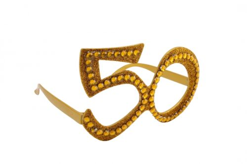 Gold Birthday Novelty Fun Party Clear Sunglasses Bling Age Number Glasses NEW