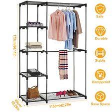 Metal Closet Organizer Wardrobe Shelves Portable Clothes Hanger Storage Rack