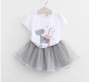 bambino-ragazze-gatto-Cartoon-t-shirt-Tee-Top-camicetta-Tutu-gonna-vestito