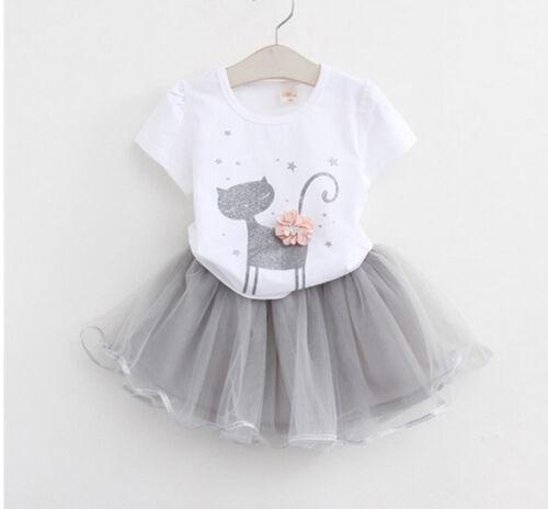 2pcs Kids Baby Girl Cat Animal Cartoon T-shirt Tops+Tutu Skirt Dress Clothes Set